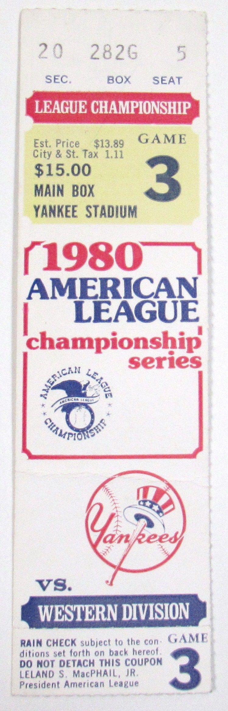 1980 ALCS Game 3 Ticket KC Royals Vs New York Yankees