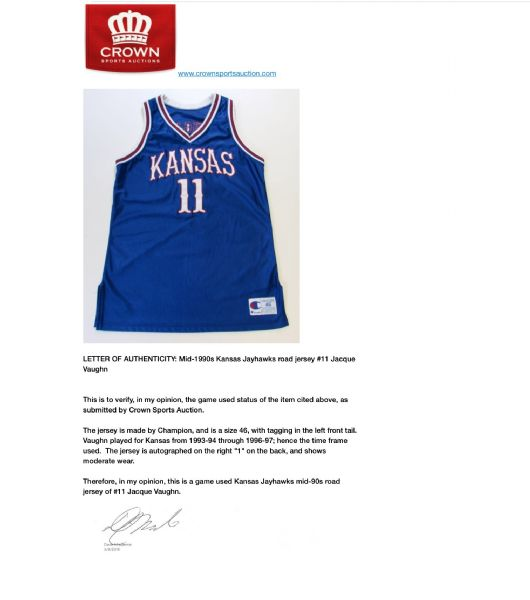 Mid-1990's Jacque Vaughn Kansas Jayhawks Game Used Signed Jersey