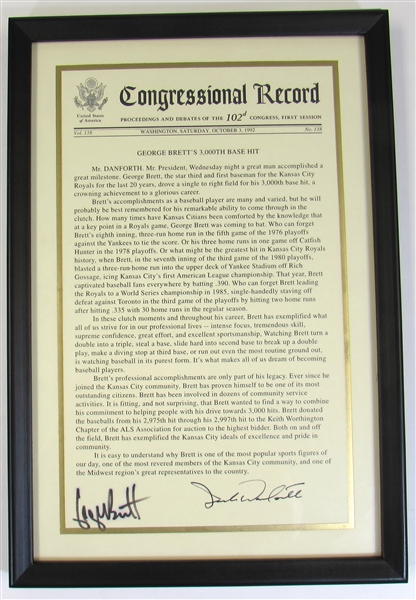 George Brett Congressional Record 3000 Hit