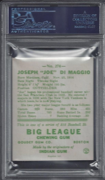 Joe DiMaggio Signed PSA Card