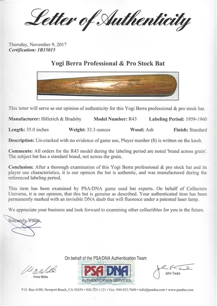 1959-60 Yogi Berra Game Issued Bat