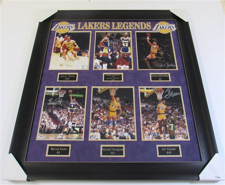 L.A. Lakers Framed Signed Display (Jabbar, Magic, West, Worthy, Etc)