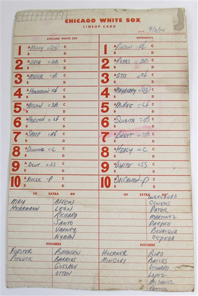 George Brett 100th Career Hit Line-Up Card