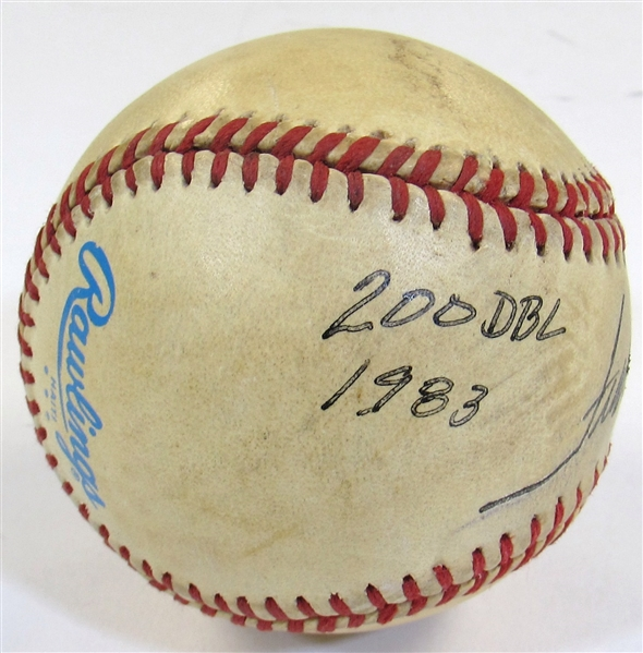 Frank White Game Used Career 200th Double Ball Signed.