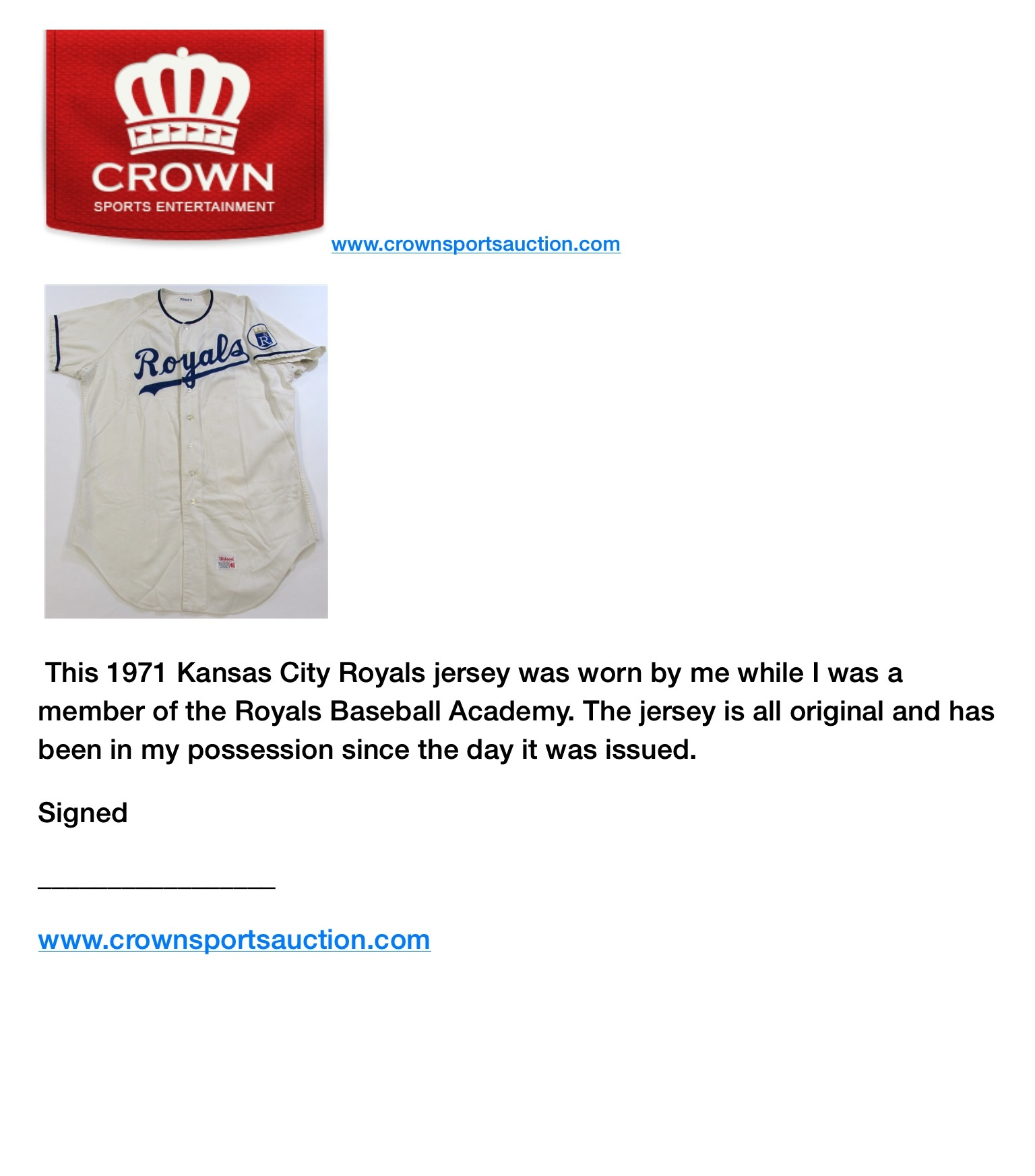 Lot Detail - Frank White 1971 Kansas City Royals Baseball Academy