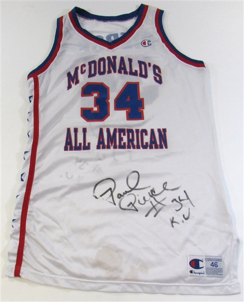 Paul Pierce Game Used McDonalds All-American Jersey Dual Signed