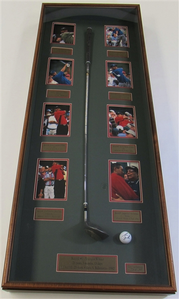 Tiger Woods Framed Display W/ Used Club & Signed Golf Ball