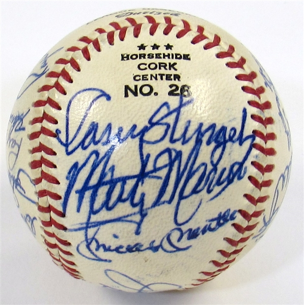 HOFers & Stars Signed Ball (20 Sigs-Mantle, DiMaggio, Paige, Dean, Waner, ETC)