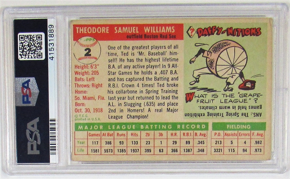 1955 Topps Ted Williams PSA 3
