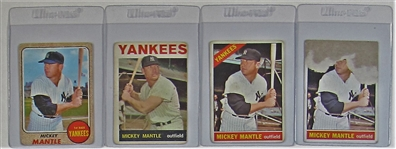 Lot Of 4 Mickey Mantle Baseball Cards
