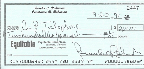 Lot Of 2- Signed Checks (Brooks Robinson & Rollie Fingers)
