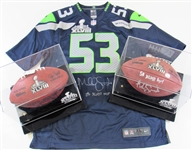 Malcolm Smith Seattle SB MVP Signed Jersey & Two Footballs One Signed.
