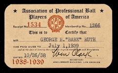 Babe Ruth Association of Professional Ball Players of America membership card