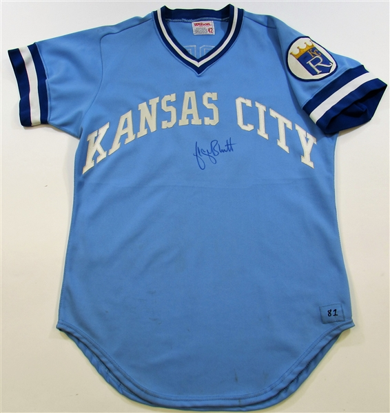 1981 George Brett Game Used Signed Road Jersey