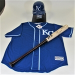 Salvador Perez Signed Jersey-Helmet- and Pro Model Bat all JSA