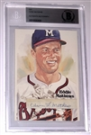 Eddie Mathews Signed Card Becket Authentinicated