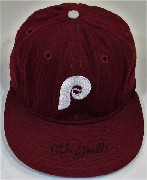 1985-87 Mike Schmidt Game Worn Signed Cap
