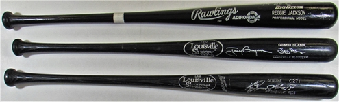 Lot Of 3- Signed Bats (Griffey Jr., Gwynn, & Reggie Jackson)