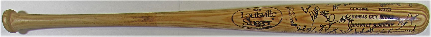 1989 K.C. Royals Team Signed Bat