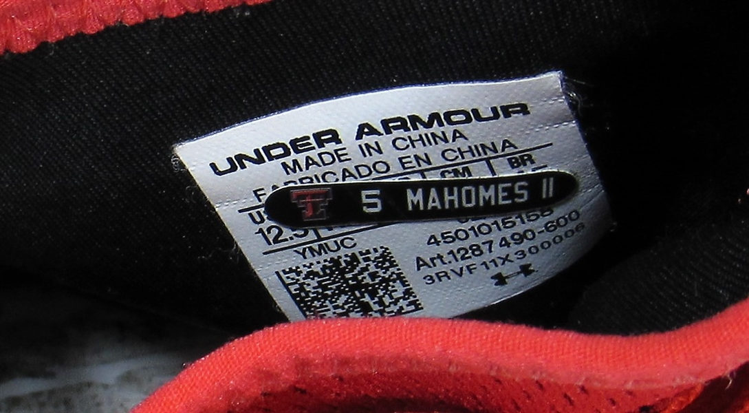 Patrick Mahomes II 2016 Texas Tech Game Used Cleats