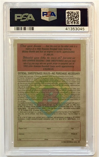 Mickey Mantle Signed and Inscribed 1953 Bowman Reprint (PSA/DNA Authenticated)