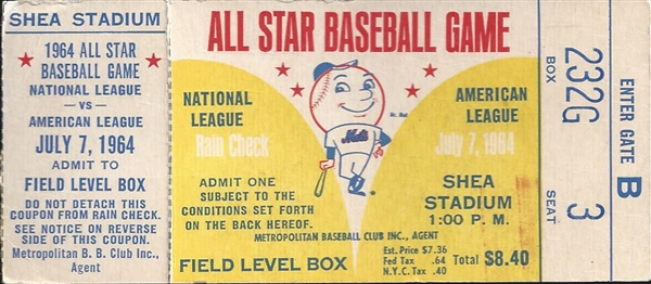 1964 All Star Baseball Game full Ticket