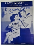 "Mickey Mantle Signed ""I Love Mickey"" Sheet Music Cover"