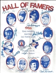 1986 HOF Game Signed Program 12 Sigs (DiMaggio, Banks, Spahn, Drysdale, Koufax, Mays, ETC)