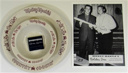 Lot Of Mickey Mantle Advertisment/ Restaurant Items (Plates, Matchbook, and 8x10)