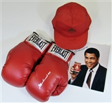 Muhammad Ali Signed Gloves, Hat, & 8x10 Photo