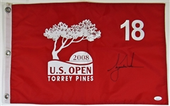 Tiger Woods 2008 U.S. Open Torrey Pines Signed 18 Hole Flag JSA