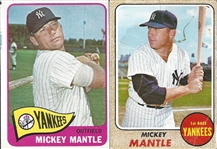 Lot of 2- Mickey Mantle Cards 1965 & 1968 Topps