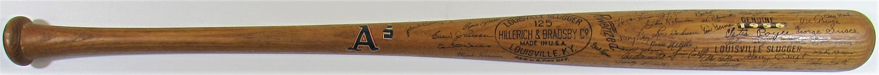 Cletis Boyer 1956 Team Signed Kansas City Athletics Bat
