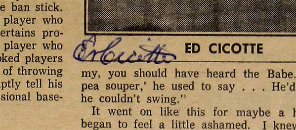 Eddie Cicotte Signed Chicago Black Sox News Paper