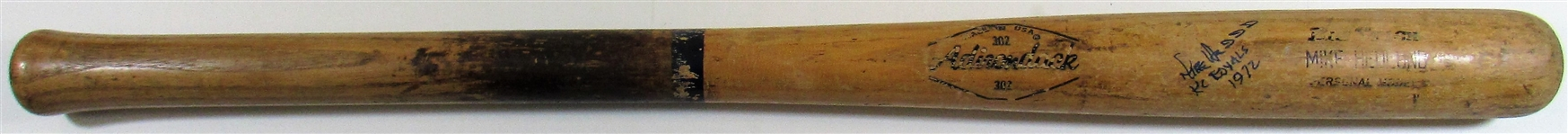 1972 Mike Hedlund Game Used & Signed Bat