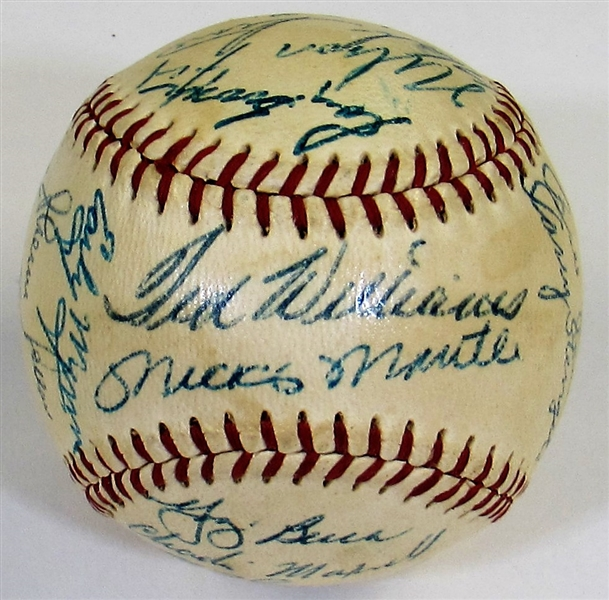 1956 A.L. All-Star Signed Harridge Baseball - Mantle Sweet Spot