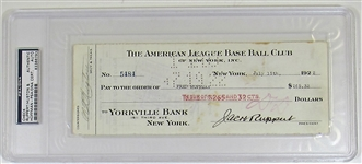 New York Yankees Payroll Check Signed Jacob Ruppert & Fred Hoffman