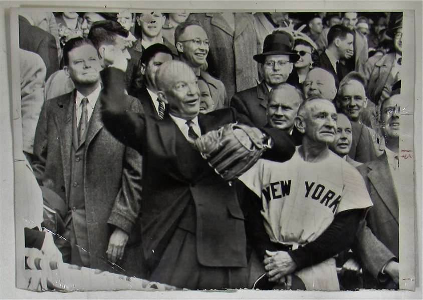Dwight Eisenhower 1956 United Press Photo First Pitch