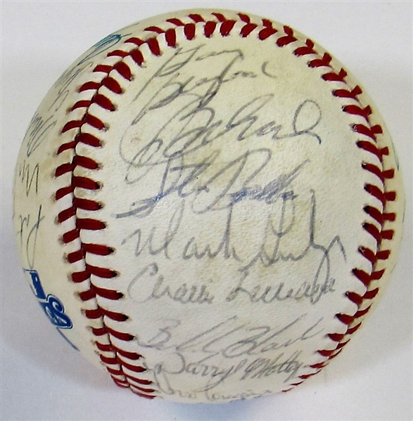 1985 Kansas City Royals Team Signed Game Used WS Baseball