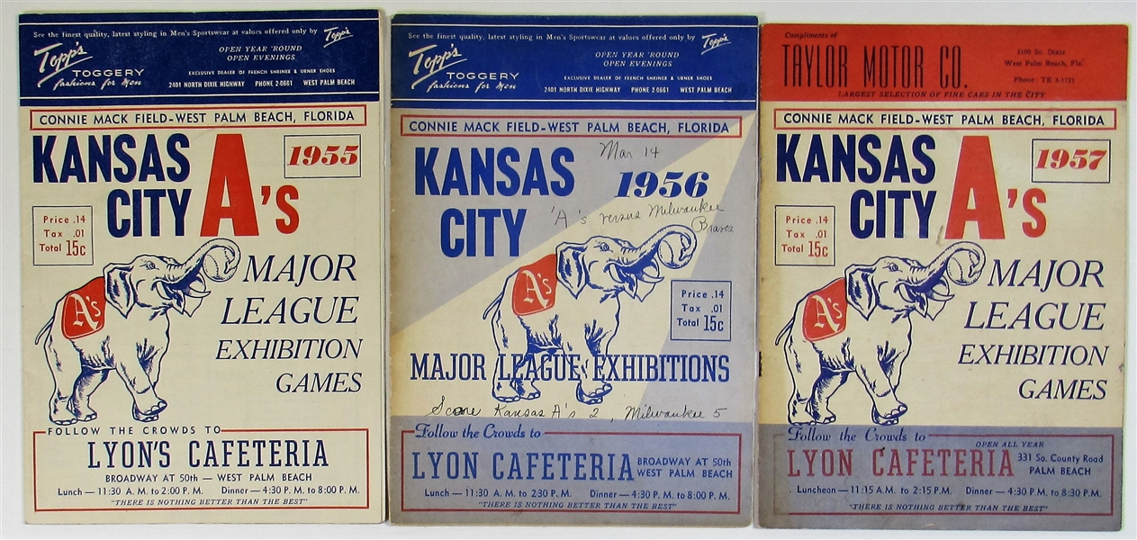 Kansas City Athletics Spring Training Programs 55-56-57 Mantle Scored