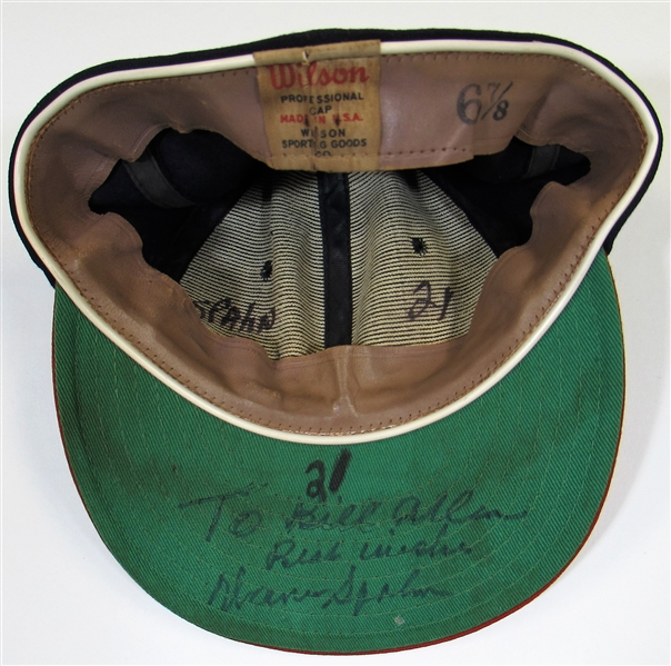 1960 GU & Signed Warren Spahn Braves Cap Photo Matched to his No Hitter