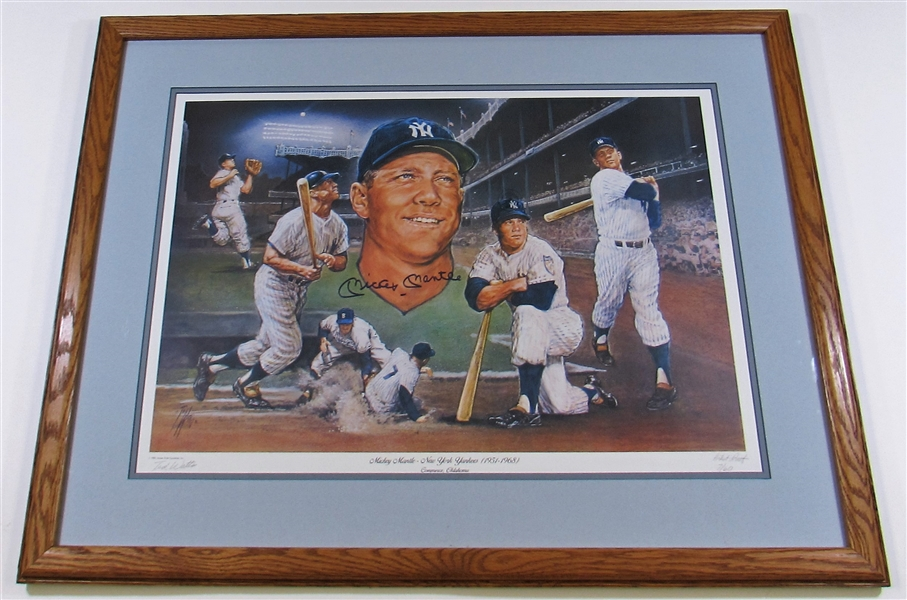 Mickey Mantle Signed Framed 16x20 Print Full Letter - JSA