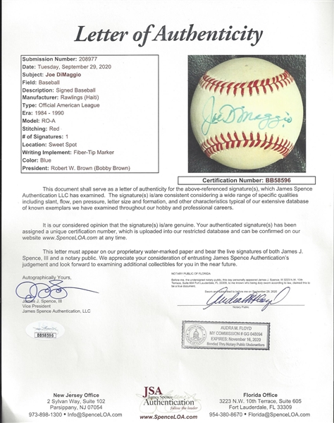 Joe DiMaggio Signed Baseball - JSA Full Letter