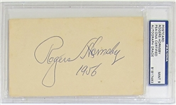 1956 Rogers Hornsby Mint 9 Signed and Inscribed Government Postcard
