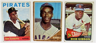 Bob Clemente-Ernie Banks-Bob Gibson Card lot of 3
