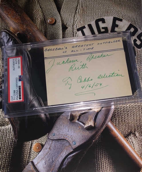 Ty Cobb Signed 1954 All-Time Greatest Outfielder (Shoeless Joe-Ruth-Speaker). PSA/DNA