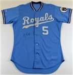 1988 George Brett Game Used & Signed Road Blue Jersey